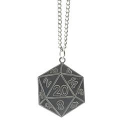 Metal D20 Pendant Necklace - Silver