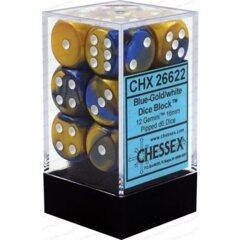CHX26622 12 Blue-Gold/white Gemini 16mm D6 Dice Block