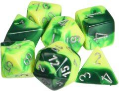CHX26454 7 Green-Yellow/silver Gemini Polyhedral Dice Set