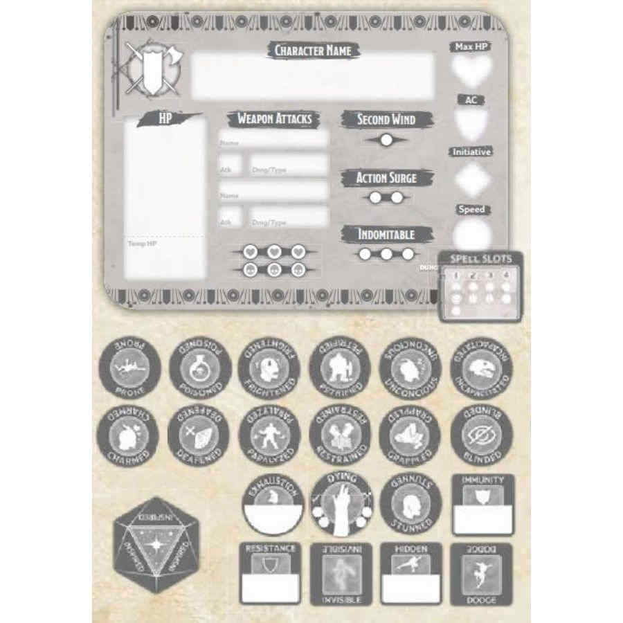 DUNGEONS AND DRAGONS TOKEN SET: FIGHTER (PLAYER BOARD AND 22 TOKENS)