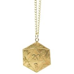 Metal D20 Pendant Necklace - Gold