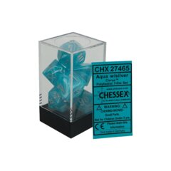 CHX27465 Cirrus Aqua / Silver 7 Dice Set