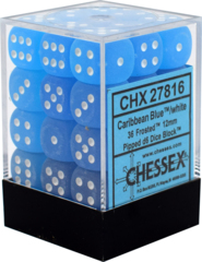 CHX27816 36 Caribbean Blue w/white Frosted 12mm D6 Dice Block