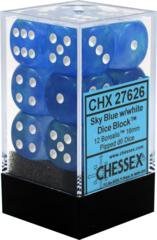 CHX27626 12 Sky Blue w/white Borealis 16mm D6 Dice Block