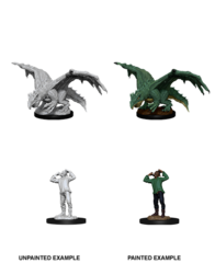 D&D Nolzur's Marvelous Miniatures: Green Dragon Wyrmling & Afflicted Elf