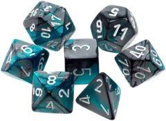 CHX26456 7 Steel-Teal w/white Gemini Polyhedral Dice Set
