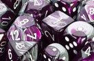 CHX26432 Gemini Purple-Steel / White 7 Dice Set