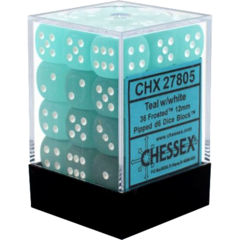 CHX27805 36 Teal w/white Frosted 12mm D6 Dice Block