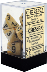 CHX27402 7pc  Ivory w/Black Marble Polyhedral Dice Set