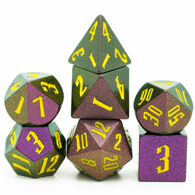 Jumbo Color Shifting 7 Piece Dice Set - Green, Gold, Red