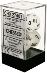 CHX27401 7pc Translucent w/Black Frosted Dice Set