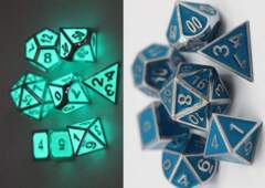 Blue Glow in the Dark Metal Dice Set