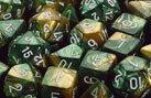 CHX26425 Gemini Gold-Green / White 7 Dice Set