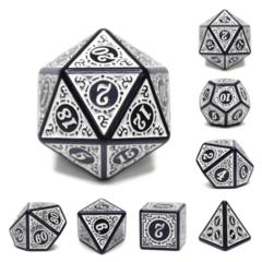 7 piece dice set - Magic Flame White