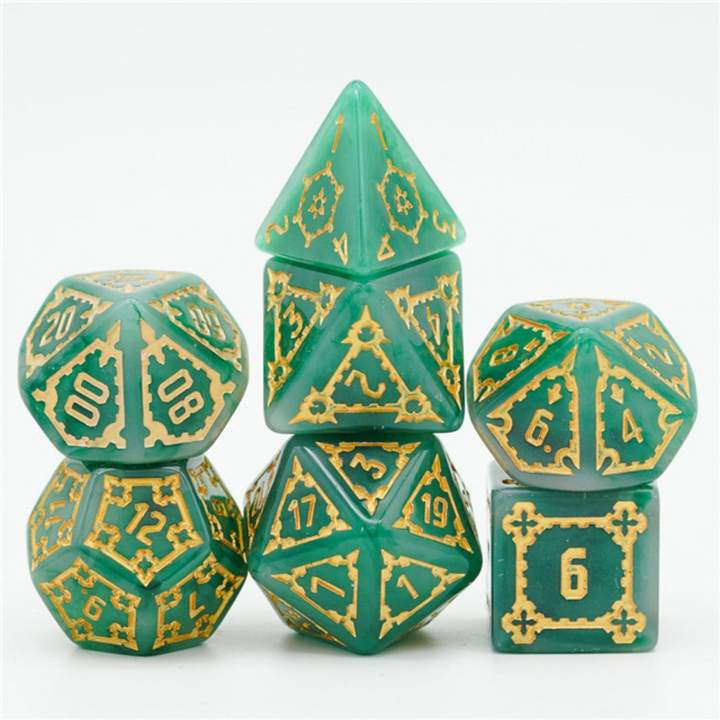 Huge Green Castle 7 piece dice set - 25 mm sized
