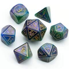 Cybernated Purple & Green 7 Piece RPG Dice Set - XL