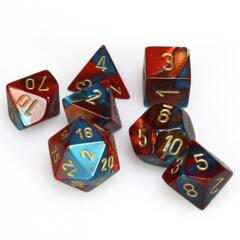 CHX26462 7 Red-Teal w/Gold Gemini Polyhedral Dice Set