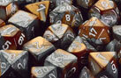 CHX26424 Copper-Steel w/white Gemini Polyhedral 7 Dice Set