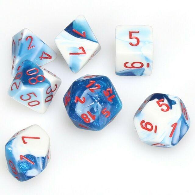 CHX26457 7 Astral Blue-White w/red Gemini Polyhedral Dice Set