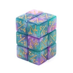 Counter Dice set of 8 - Light Blue and Purple Glitter