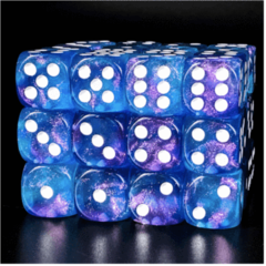 12 Piece Pip D6 Set - Purple & Blue Glitter