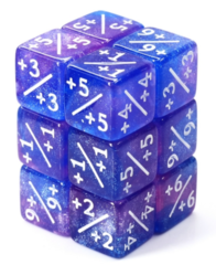 Counter Dice set of 8 - Blue and Purple Glitter