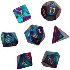 CHX26449 7 Purple-Teal w/Gold Gemini Polyhedral Dice Set