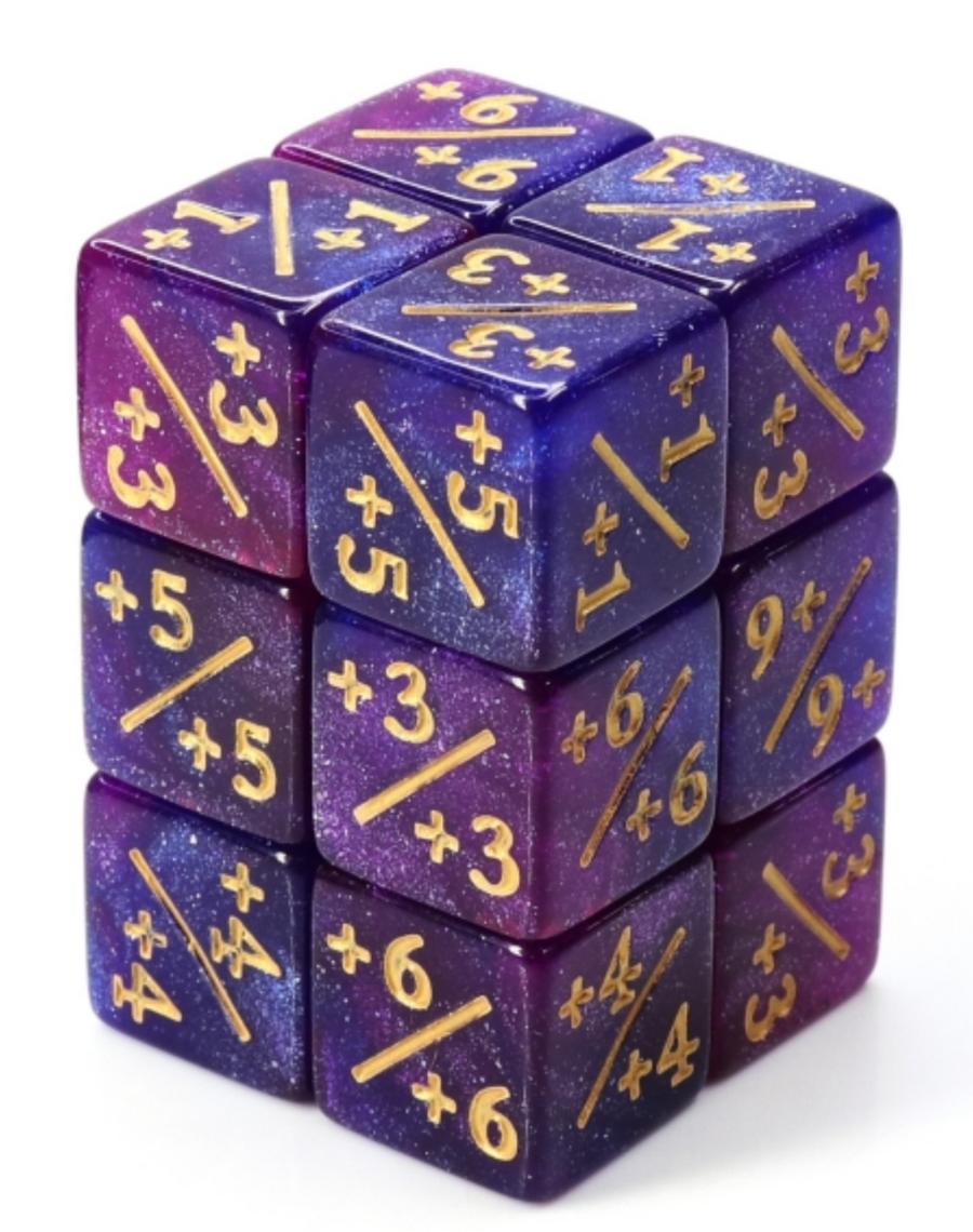 Counter Dice set of 8 - Dark Blue and Purple Glitter