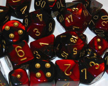 CHX26433 Gemini Black-Red / Gold 7 Dice Set