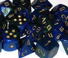 CHX26436 Gemini Blue-Green / Gold 7 Dice Set