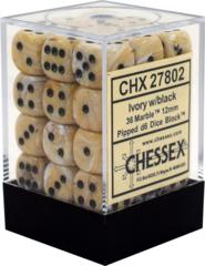 CHX27802 36 Ivory w/black Marble 12mm D6 Dice Block
