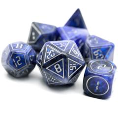 Cybernated Blue & Black 7 Piece RPG Dice Set - XL