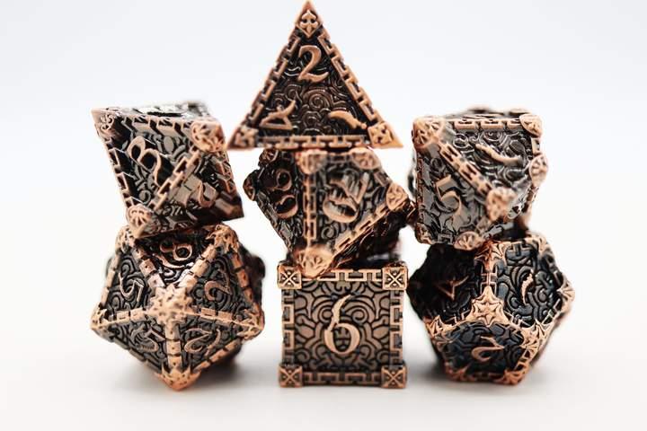 7 Piece Metal Dice Set - Copper Dagger of Venom