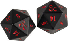 Dungeons and Dragons RPG: Heavy Metal - D20 Black and Red Dice Set (2)