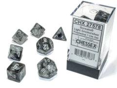 Light Smoke/Silver Luminary Borealis Polyhedral 7 Dice Set - CHX27578