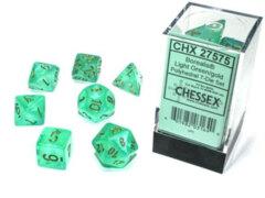 Light Green/Gold Luminary Borealis Polyhedral 7 Dice Set - CHX27575