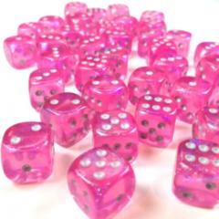 36d6 12mm Dice Borealis Pink/Silver Luminary - CHX27984
