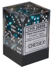 Chessex 36 ct Gemini Steel/Teal 12mm d6 (26856)