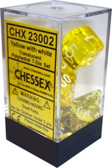 Chessex Translucent Polyhedral 7-Die Set Yellow with White (23002)