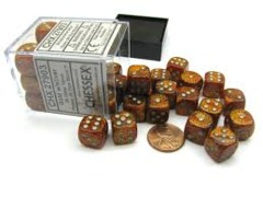 Chessex 36 ct D6 -- 12MM GLITTER DICE, GOLD/SILVER, (27903)