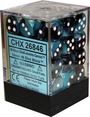 Chessex 36 ct Gemini Black-Shell w/White 12mm d6 (26846)