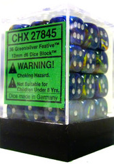 Chessex 36 ct Borealis Light Green Silver 12mm D6 (27825)