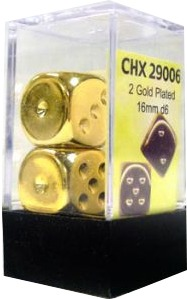 Chessex (2) Gold Plated 12mm d6 (29006)