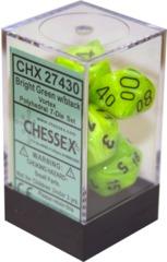 Chessex Speckled Polyhedra Vortex Polyhedral 7-Die SetBright Green/Black (27430)