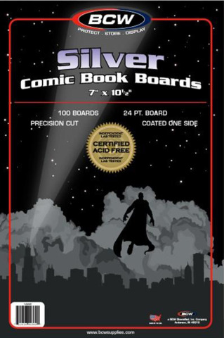 BCW  Silver Comic Backing Boards 7 X 10 1/2  100 Boards per Pack