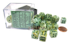 Chessex 36 ct D6 -- 12MM MARBLE DICE, GREEN/DARK GREEN, (27809)
