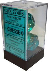 Chessex 7 ct Borealis Polyhedral Teal with Gold (27486)