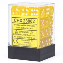 Chessex D6 -- 12MM TRANSLUCENT DICE, YELLOW/WHITE; 36CT (23802)