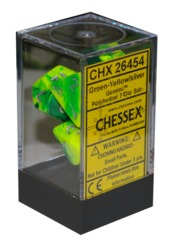 Chessex 7 ct Gemini Polyhedral Die Set Green/Yellow (26454)