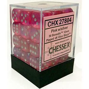 Chessex 36 ct Borealis Pink w/Silver 12mm d6 Dice Block (CHX27804)